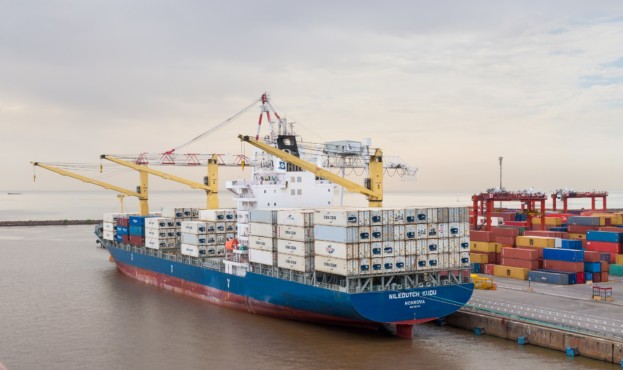 Container Ship in Port of Buenos Aires, Argentina