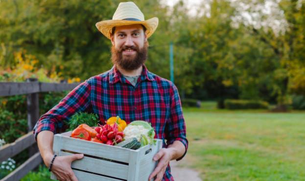 jovenes-30-35-anos-joven-barbudo-hombre-agricultor-masculino-sombrero-caja-verduras-frescas-ecologicas-jardin-puesta-sol_73683-1056