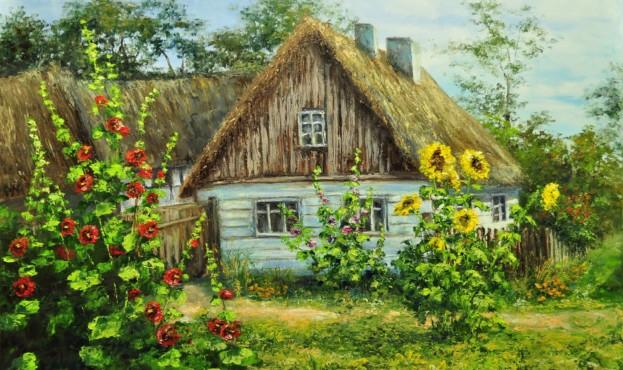 selo-derevnya-leto-dom-zelen-cvety