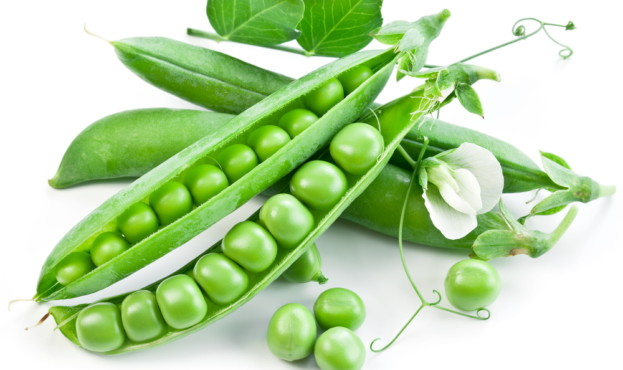Pods of green peas with leaves on white background.