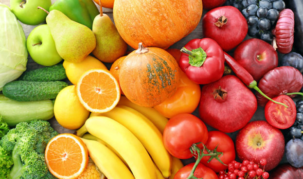 View of delicious ripe fruits and vegetables